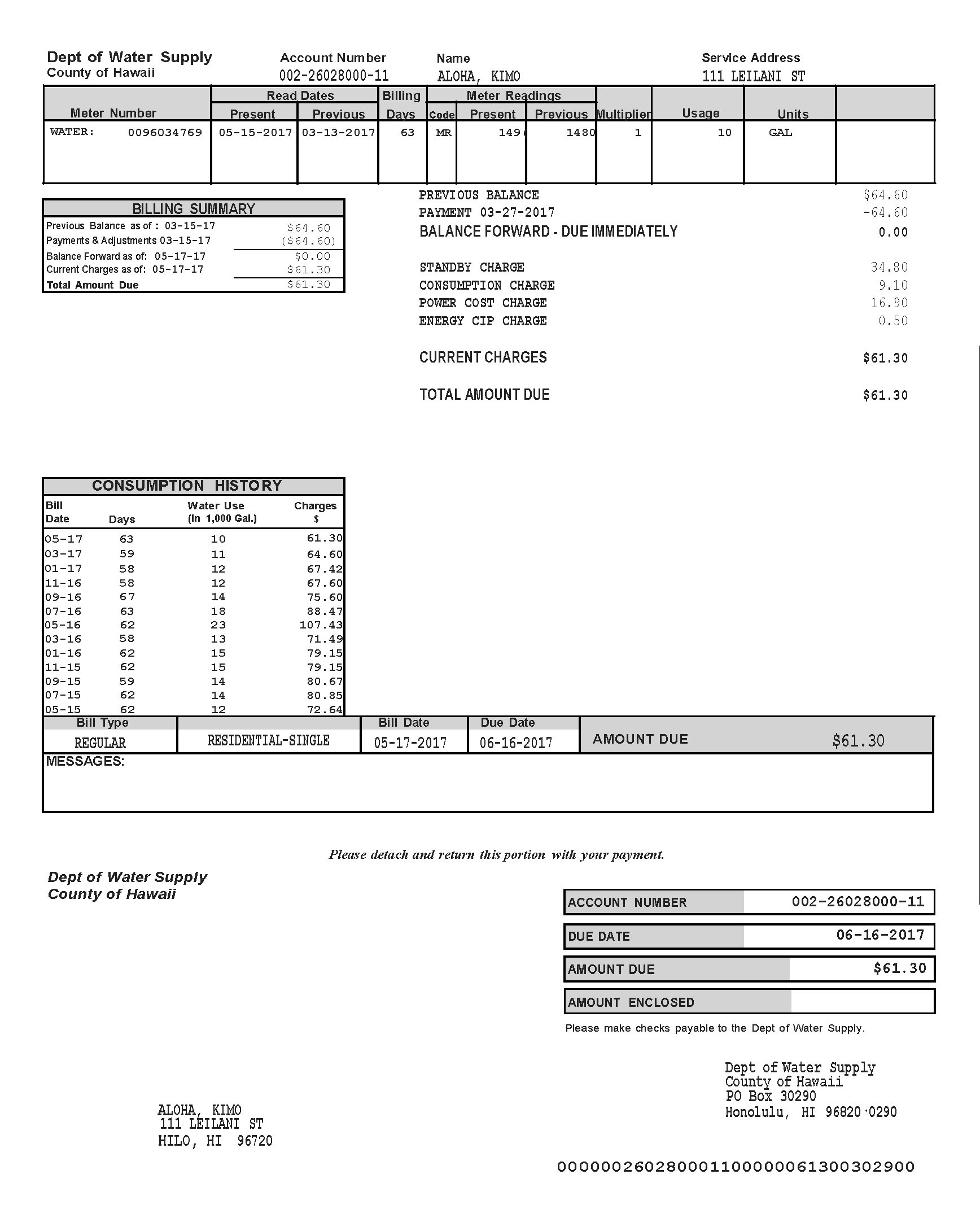 How to Read Your Water Bill – Department of Water Supply
